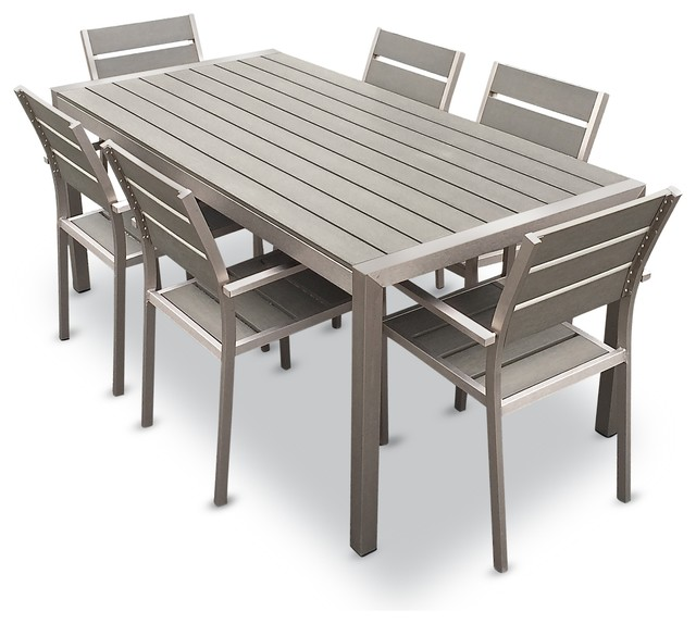 Flynn 7 piece outdoor dining set aluminum and resin for Patio dining sets with bench seating