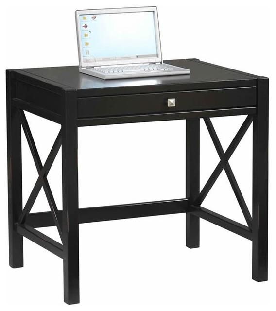 Linon Anna Laptop Desk In Distressed Antique Black