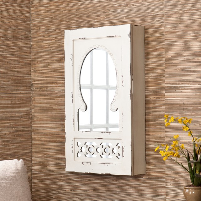 ... Chic Mirrored Wall Mount Jewelry Armoire contemporary-jewelry-armoires