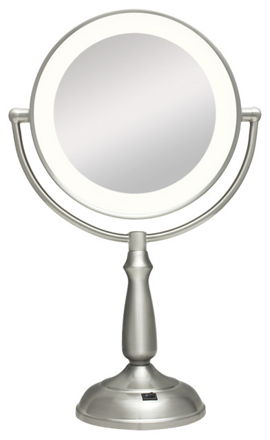 zadro ultra bright led lighted 1x 10x round vanity mirror in satin nickel led. Black Bedroom Furniture Sets. Home Design Ideas