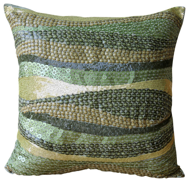 Green Silk Throw Pillow : Eco Friendly Decorative Green Silk Throw Pillow Cover, 20x20 - Contemporary - Scatter Cushions ...