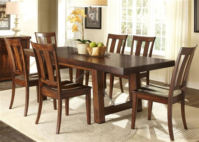 Liberty Furniture Tahoe 7 Piece Trestle Table Set In