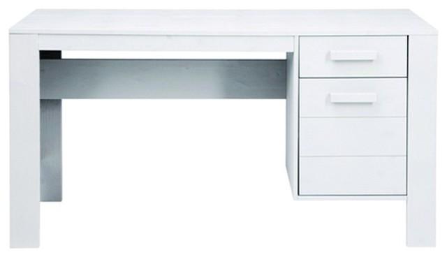 bureau en pin bross denis couleur blanc moderne. Black Bedroom Furniture Sets. Home Design Ideas