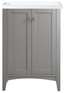 Asti Four Single Vanity In Gray With Carrera White Marble Top Transitional Bathroom Vanities