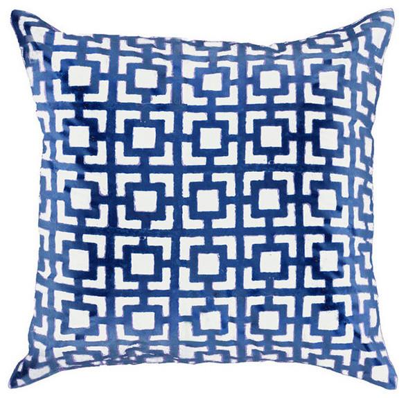 Modern Navy Pillows : Bandhini Home Net Navy Medium Throw Pillow - Modern - Decorative Pillows - by Zinc Door