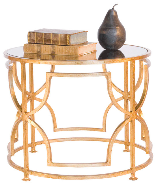 Worlds Away Round Coktail Table with Antique Mirror Top-Available in Two Differe - Contemporary ...
