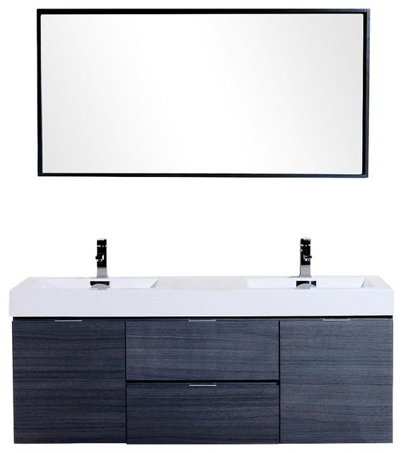 60 Wall Mount Double Sink Modern Bathroom Vanity High Gloss Gray Modern Bathroom Vanities