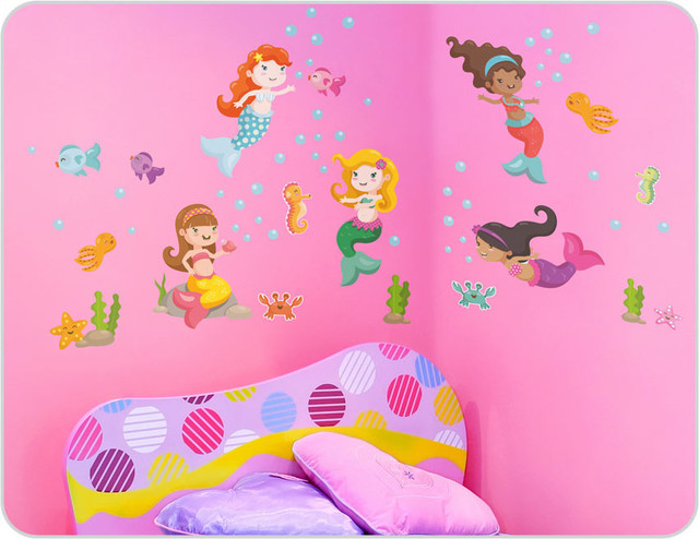 Mermaid wall stickers modern kids wall decor sydney by bright star kids - Minimalist bathroom mirrors design ideas to create sweet splash simply ...