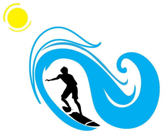 Surfer And Wave Silhouette Sports Contemporary Wall
