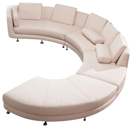 Curved Sofa Sectional Leather: VIG- A94 Divani Casa Contemporary Leather Curved Shaped