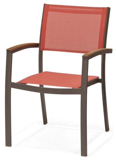 tarragona chaise de jardin rouge avec accoudoirs empilable industriel chaise de jardin par. Black Bedroom Furniture Sets. Home Design Ideas