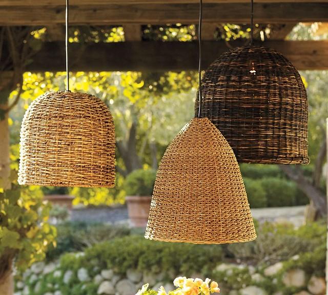 Grove Wicker Pendant Lights Set Of 3 Traditional