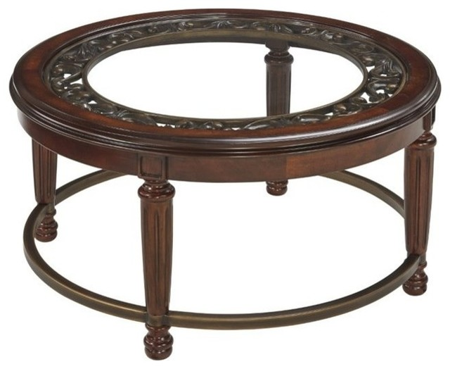 Ashley Leahlyn Round Coffee Table, Reddish Brown - Coffee ...