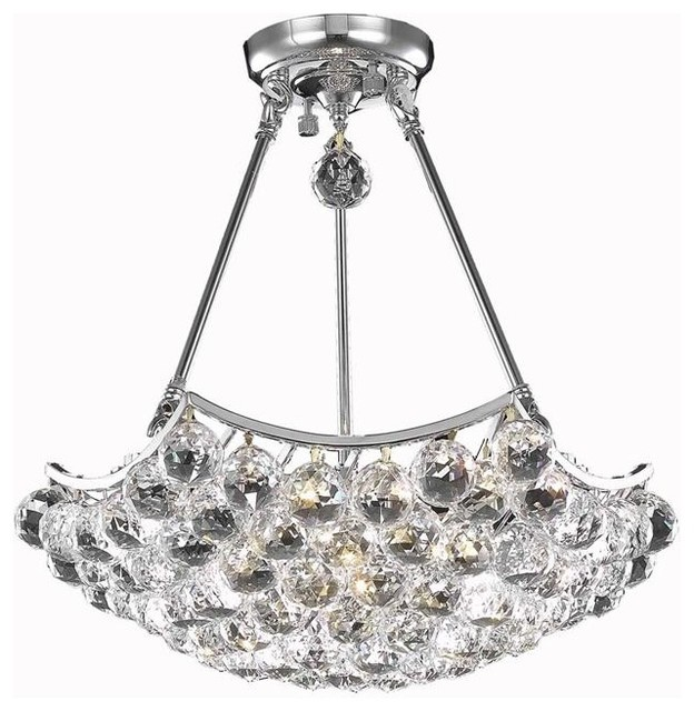 Geneva 4 Light Polished Nickel Pendant Chandelier Clear Crystal