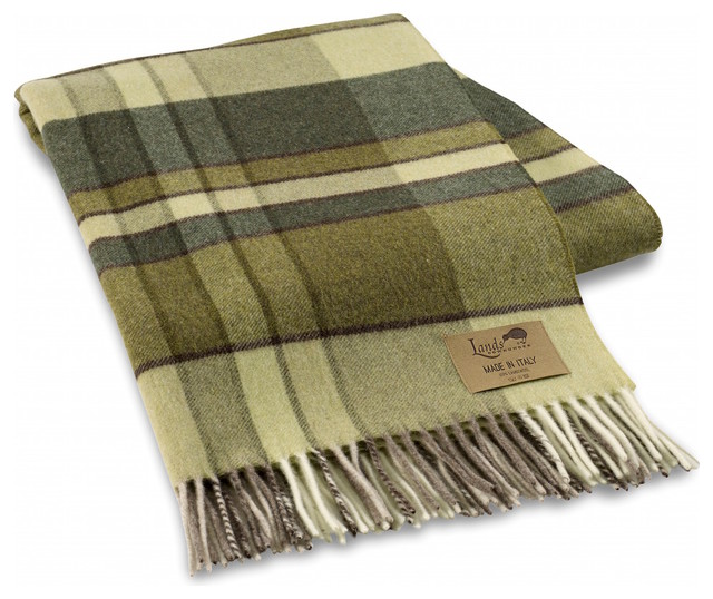 Vintage Style Plaid Lambswool Throw Green Traditional