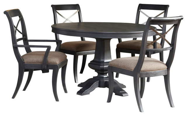 Vintage Tempo Round Table 6 Piece Dining Set Transitional Dining Sets