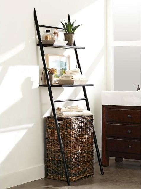 Rustic over the toilet storage ladder   trendy   skabe & hylder ...