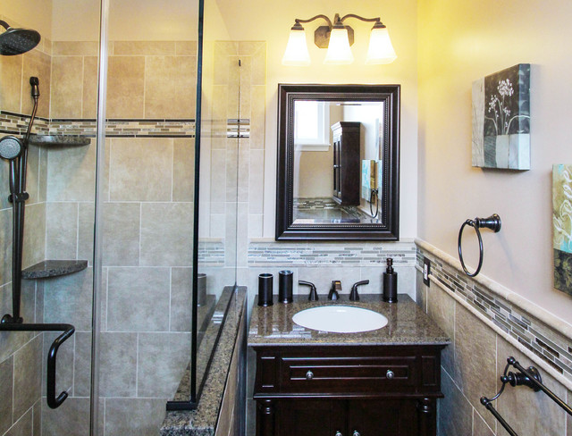 Earth Toned Vanity With Oil Rubbed Bronze Fixtures