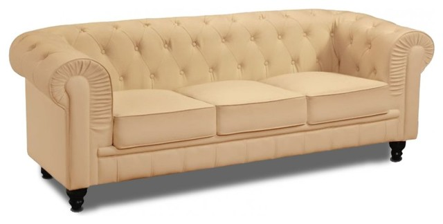 Canap fixe chesterfield royal 3 places beige midcentury sofas by inside75 - Canape chesterfield vintage ...