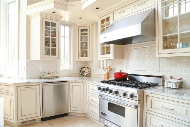Cream Painted and Glazed Kitchen Cabinets  Traditional  nashville