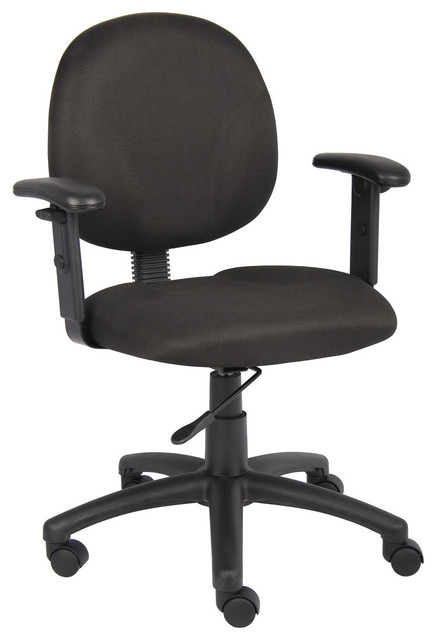 Diamond Task Chair In Black With Adjustable Arms Modern Office Chairs