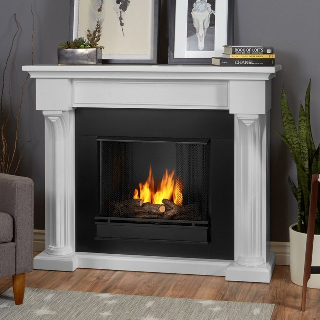 Real flame verona ventless gel fireplace 5420 co for Contemporary ventless fireplace