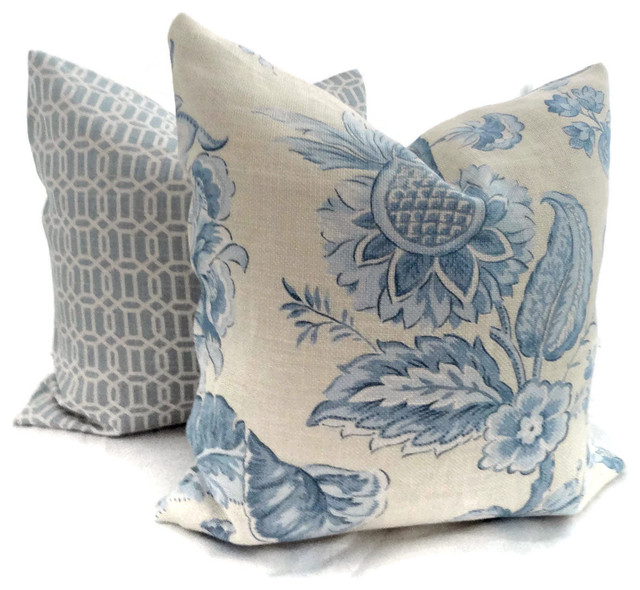 Traditional Decor Pillows : Brunschwig and Fils Yellow and Blue Linen Floral by Pop O Color - Traditional - Decorative ...