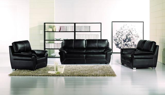 black leather sofa loveseat chair tufted modern