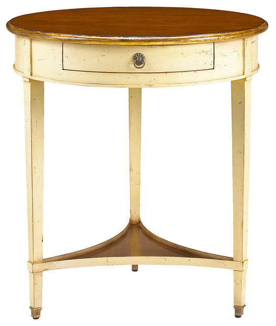 Round Nightstand Antiqued Ivory Contemporary