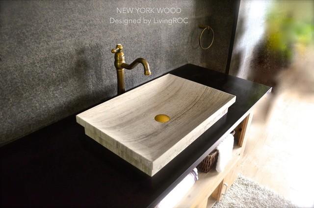 Drop In Vessel Sink : ... Bathroom Vessel Drop-in Sink - NEW YORK WOOD modern-bathroom-sinks