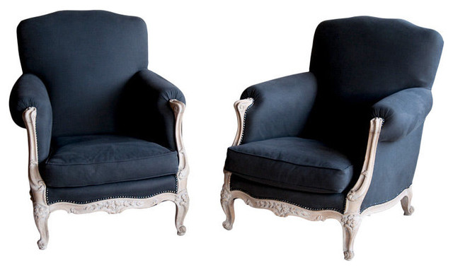 Pair Antique French Reupholstered Berg 232 Re Chairs