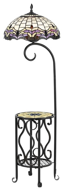 poppin tiffany style floor lamp with tray table. Black Bedroom Furniture Sets. Home Design Ideas