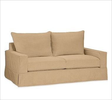 PB Comfort Square Slipcovered Sofa, Knife-Edge Cushion, Down-Blend Wrap Cushions - Traditional ...