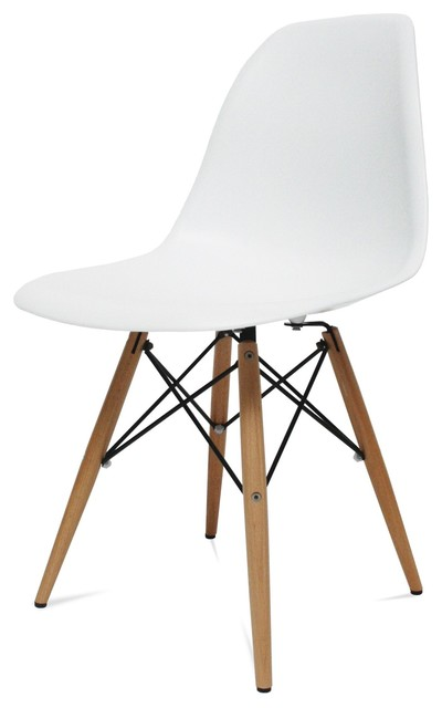 Mid century modern wood leg side chair white   retro ...
