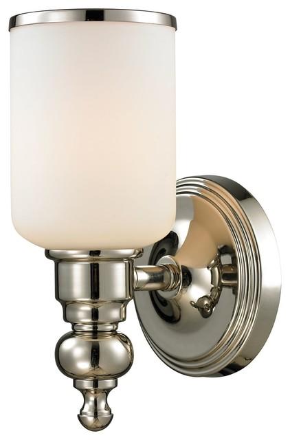 Bathroom Vanity Lights Polished Nickel : Bristol 1-Light Bath in Polished Nickel - Contemporary - Bathroom Lighting & Vanity Lighting