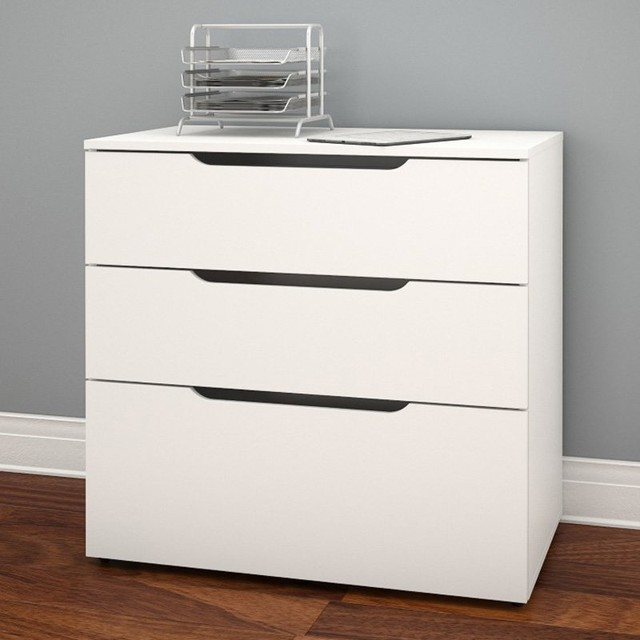 Nexera Arobas 3 Drawer Filing Cabinet - White - 600303 contemporary-filing-cabinets