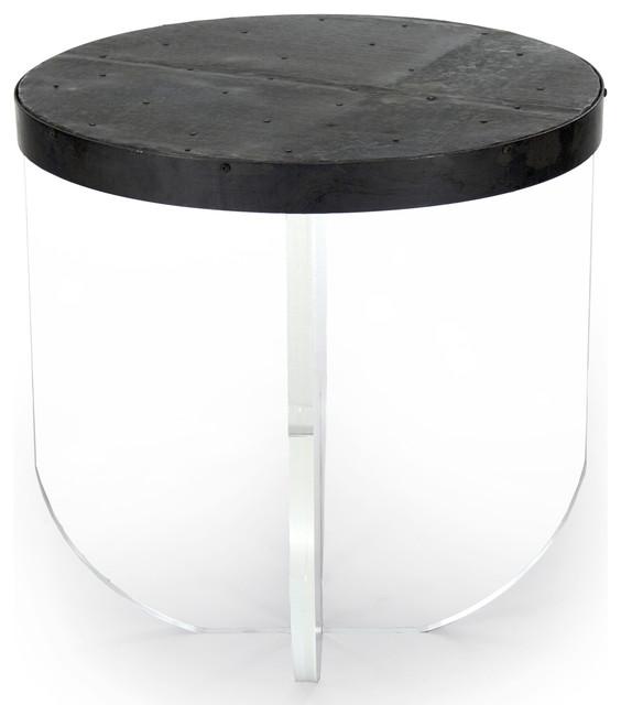 Vedel Industrial Loft Zinc Wood Rectangle Coffee Table: Blaine Modern Acrylic Zinc Top Round Side Table