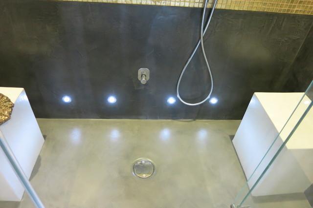 beton cire designer walk in shower and bathroom. Black Bedroom Furniture Sets. Home Design Ideas