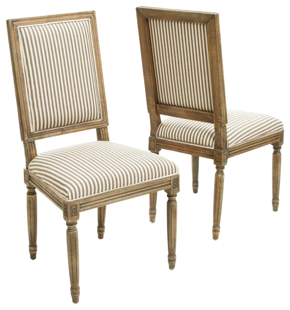 Martin Weathered Striped Dining Chairs Set Of 2 Dark