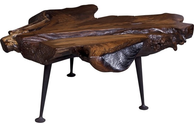 Coffee table with cast iron legs natural teak rustic for Rustic iron table legs