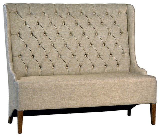Andrea French Country Tufted Sand Long Dining Bench Banquette: Beige Tufted Dining Bench