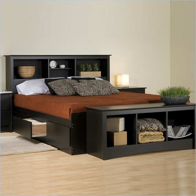 Prepac Sonoma Black Bookcase Platform Storage Bed with
