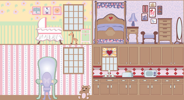 Dollhouse wall 1 wall mural contemporary wallpaper for Dollhouse bedroom ideas