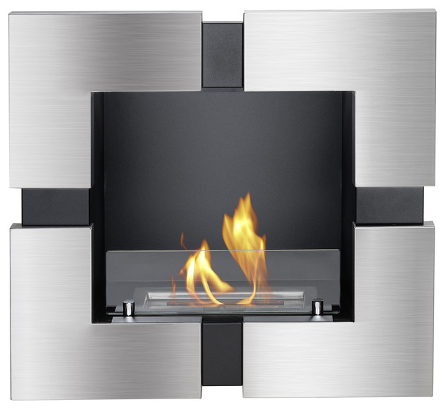 Tokio recessed ventless ethanol fireplace modern for Ventless fireplace modern