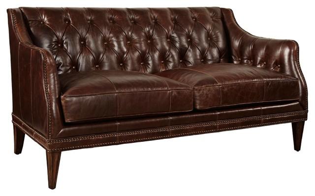 ART Furniture Kennedy Walnut Leather Settee Dark Oak