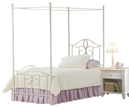 canopy bed 5 piece bedroom set in off white twin traditional bedroom