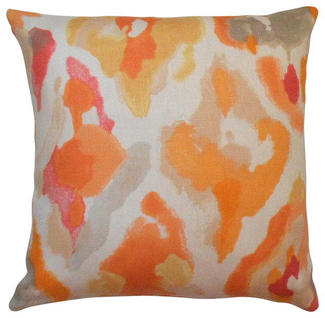 Modern Abstract Pillow : Abstract Watercolor Decorative Pillow Cover, Orange, Coral, Pink modern-decorative-pillows