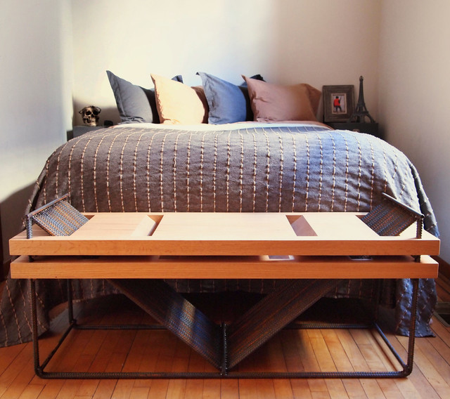 repurposed rebar and red oak bench industrial bedroom