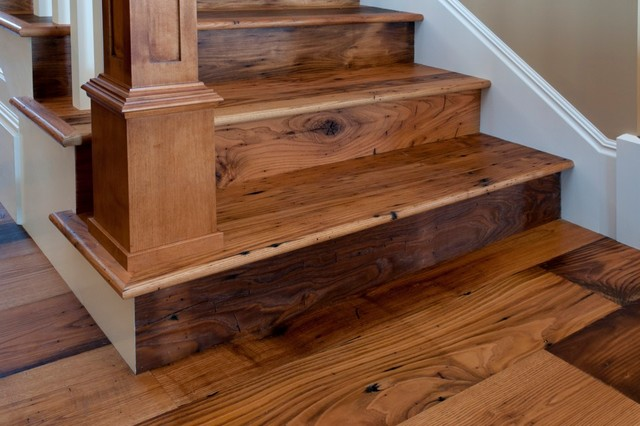 Reclaimed Antique Wormy Chestnut Hardwood Flooring - Traditional - Staircase - other metro - by ...