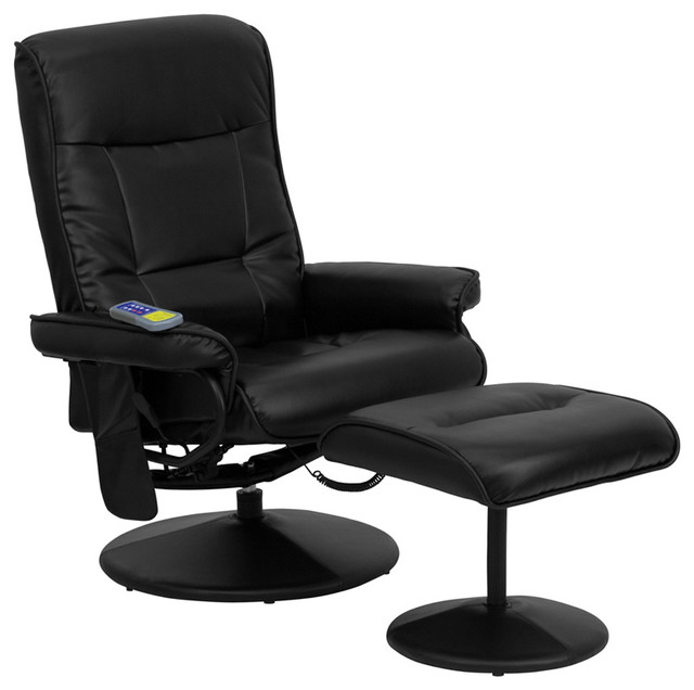 Flash Furniture Massaging Black Leather Recliner and